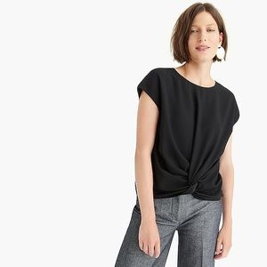 NEW J. Crew 365 Drapey Knot Front Top Black J6162